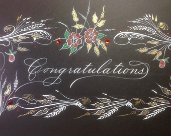 "Specially decorated card ""Congratulations"" or others"