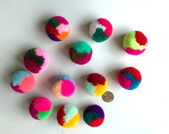 Assorted Yarn Pom Poms, party poms, handmade, pom pom, yarn balls, pink, green, blue, white, red, black, brown, yellow, 10 poms, tulle, soft