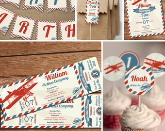 Airplane Party Printable Set - Vintage Airplane - Instantly Downloadable and Editable File - Personalize and Print at home with Adobe Reader