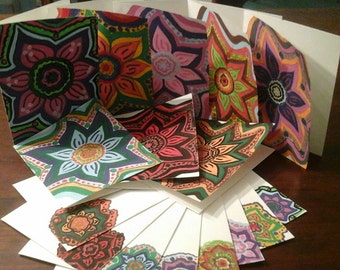 Floral Mandala Stationary Note Cards