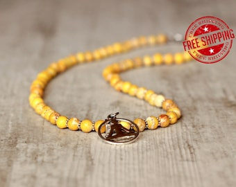 jewelry yoga necklace yellow necklace charm yoga gift spiritual necklace healing women necklace zen jewelry for women christmas gift for her