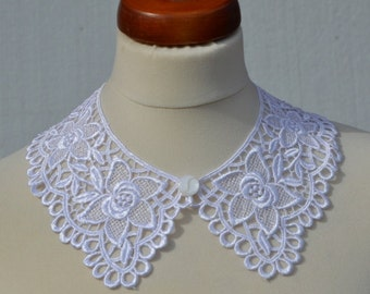 White Peter Pan Collar, White Detachable Collar and  button, Cotton, Lace Collar, Lace Necklace, Detachable Collar Necklace, gift for her