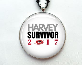 "Hurricane Harvey Survivor Ornament - 2"" Christmas Ornament - Hurricane Harvey necklace pendant gift -Houston Texas Strong"