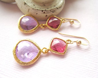 Pink Earrings Pink Purple Glass Earrings Lavender Radiant Orchid Dangle Bridesmaids Pantone Wedding Jewelry Bridal Jewelry Style Gift Idea