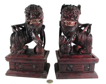 Pair of rosewood wood statues of the dog fo China
