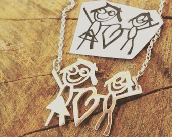 Family Necklace / Kids Drawing Necklace / Kids Art Necklace / personalised your childs art
