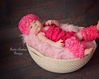 Newborn Infant Crochet Leg Warmers Hat Set, Baby Hot Pink White Hand Crochet Leg Warmers and Hat, Unique Baby Gift, Baby Shower Gift