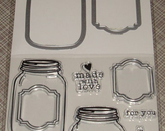 """Hampton Art Stamp & Die Set-  Clear Stamps and Dies *3 x 4* """"Made With Love"""""""