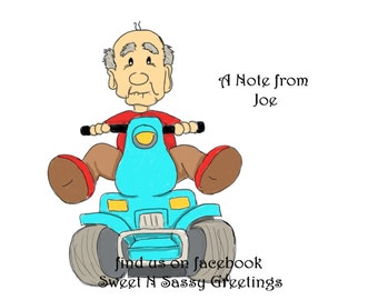 Set of 10 old man on scooter personalized note cards.
