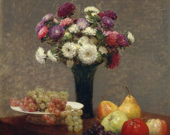 "Henri Fantin-Latour : ""Asters and Fruit on a Table"" (1868) - Giclee Fine Art Print"