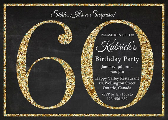 60th birthday invitation gold glitter birthday party invite filmwisefo Choice Image
