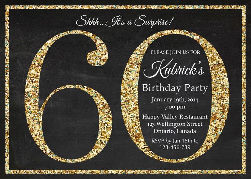 60th birthday invitation Gold Glitter Birthday Party invite