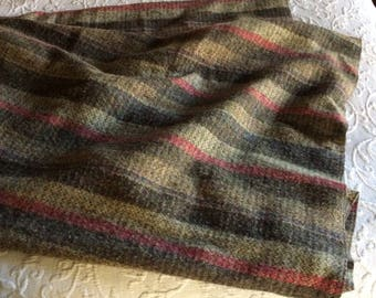 Vintage Reclaimed Wool Blanket Woven Throw Vertical Stripe Sofa Throw Recycled Blanket Hygge Home Accents (ST)