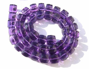 Superior Quality AAA Amethyst Faceted 3D Cubes Briolette Full 7 Inches Size 7 - 8mm approx