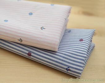 SALE Clearance 1 Yard Nautical Marine, Chic Blue and Pink Tiny Anchor Stripes(Choose Your Color)-Japanese Cotton Fabric (1 Yard)