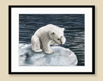 Polar Bear Cub Print - Sad Bear