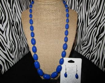 Blue & Silver necklace/Earrings Set