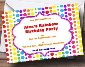 Rainbow Polkadot Theme Personalised Birthday Party Invitations