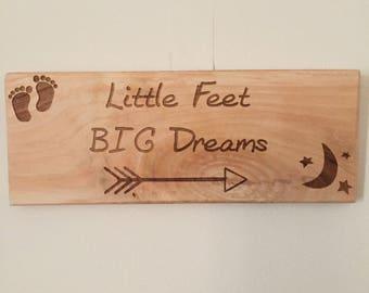 Nursery sign, Rustic nursery wall art, Christening gift, Little feet, Big Dreams, nursery wall art, nursery wall sign, nursery decor