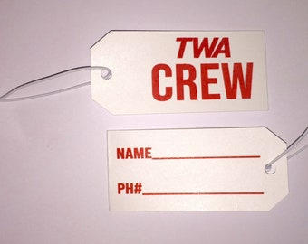 TWA Crew Luggage Tags Set of TWO   Free Shipping