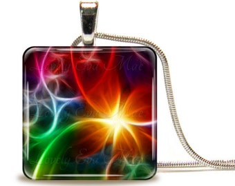 Colorful Abstract, Glass Tile Necklace, Glass Tile Pendant, Glass Cabochon, Red and Blue