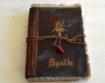 Handmade Spell book, Journal, Book of Shadows, Magic Notebook, Mystical  Diary Junk Journal with hand  stamped and distressed pages