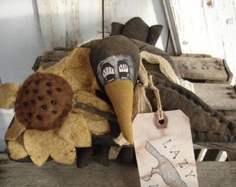 Made to Order, Lazy Dayz Crow with Sunflower/Daisy, Primitive, Rustic, Crow, Home Decor, Ofg, Faap, Hafair. Dub