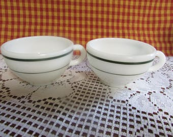 Pyrex Double Tough VINTAGE Set Of 2 Cups, VINTAGE Replacement Cup Double Touch White And Green