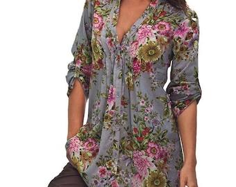Womens Vintage Floral Print V-neck Tunic Blouse