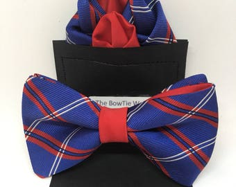 Blue, Red, and White Striped BowTie (item# PT02082)