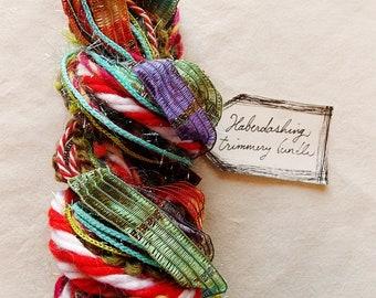 Lawn Gnome green red white purple aqua tinsel ribbon striped twine Novelty Fiber Yarn Sampler Bundle