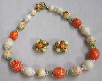 Signed CORO Beaded Necklace and Earrings Demi Parure Orange Beads Metal Spacers Glass Bits