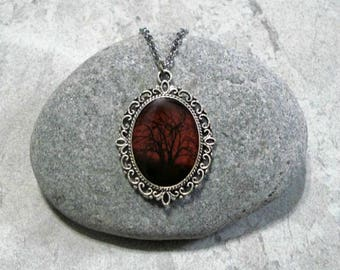 Red Sky Necklace Black Tree Pendant Jewelry