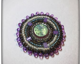 One of a kind, beautiful bead-embroidered moon man brooch