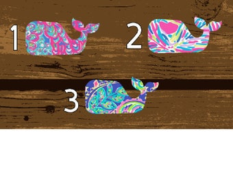 Whale, Lilly Pulitzer, Lilly Pulitzer Vinyl, Lilly Pulitzer Decal, Whale Sticker, Whale Decal, Yeti Rambler Decal, Yeti Tumbler Decal