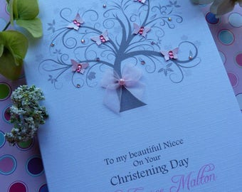 Handmade Personalised Christening / Naming or Baptism Day Card Butterfly Tree