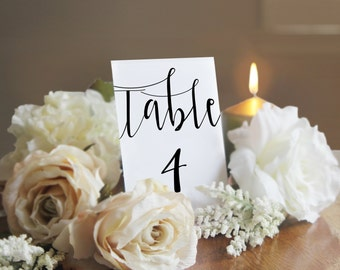 Printable Table Numbers, Table Number Template, Wedding Table Numbers, Calligraphy, 4x6 Table Numbers, Instant Download, PDF, PPS08