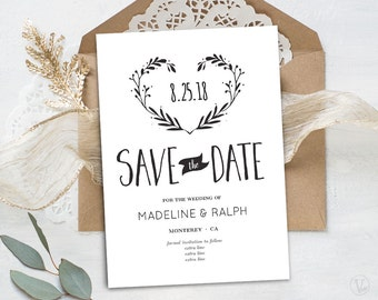 Rustic Greenery Save The Date Template Printable Greenery - Save the date text template