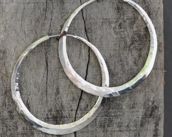 sterling silver hoop earrings, 2 inch, planishing hammer or your choice of texture, hand wrought,  crescent moon style