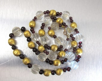 Rock Crystal Gold Bead Necklace. 14K Yellow Gold Ribbed Melon Rock Crystal Garnet Beaded Necklace.