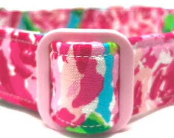 Lilly Pulitzer Inspired Dog Collar for Girl Pink Roses
