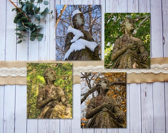 Statue in Four Seasons: winter, spring, summer, fall, statue, graveyard, New England, snow, autumn, four seasons gallery wall