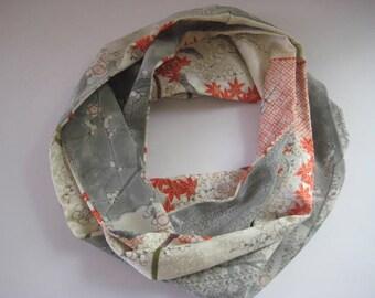 Gray Plum Branch Maple Leaves Japanese Silk Scarf - Vintage Japanese Silk Kimono Fabric