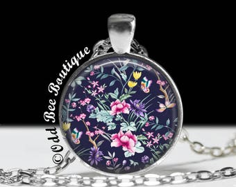 "Navy Blue Floral Necklace - Wildflower Pendant - Elegant, Bridal Jewelry - Gift for Woman, Friend, or Mother - 1"" Silver and Glass Pendant"