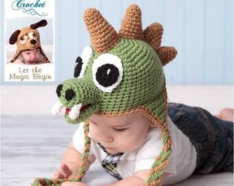 Crochet Pattern 005 - Dinosaur Earflap Beanie Hat - All Sizes