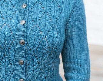 INSTANT DOWNLOAD PDF Knitting Pattern for Women's Cable Sweater Cardigan with Cable and Lace Long Sleeves Crew-Neck One piece Seamless Ana