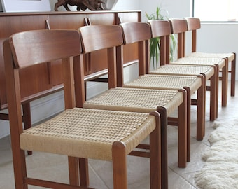 Vintage Modern Teak And Papercord Dining Chairs Set Of 6