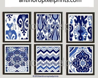 Ikat Indigo Prints Damask Navy Blues White Pictures, Set of (6) 8x10 Wall Art, Custom Colors Available (Unframed) #214695270