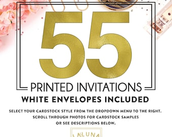 Set of 55 printed invitations / cards