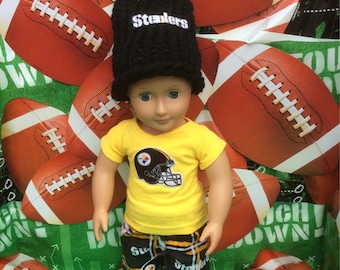 Pittsburgh STEELERS ,18Inch Doll Clothes,Handmade,Fits All 18 Inch Dolls,3PC Outfit